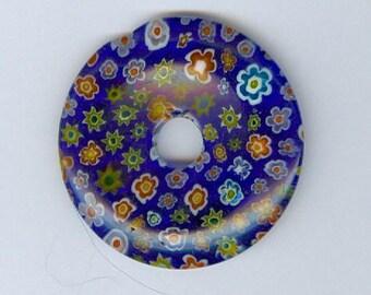 Millefiori Donut Pendant, 40mm Royal Blue Millefiori Glass Pi Donut Focal Pendant Flower Bead 592T