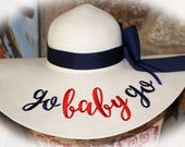 Personalized Straw Floppy Hat Beach Hat Do Not Disturb Salty Hair Honeymooning Wifey Sun Hat Offline Out of OffIce Bride All Day Rose