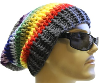 Slouchy Beanie Crochet Slouch Beanie Hipster Hat Gray Rainbow Stripe Mens or Womens Beanie