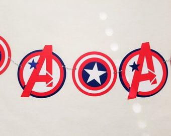 Super Hero Garland, Avengers Garland, Super Hero Bunting Banner, Avengers Bunting Banner, Super Hero Party, Room Nursery Decor READY TO SHIP