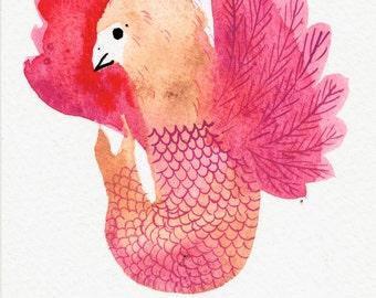 Warm Pink Happy Fish Bird  / watercolour gouache original