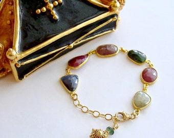 Multicolored Sapphire Slices Adjustable Bracelet - Suzie III Bracelet