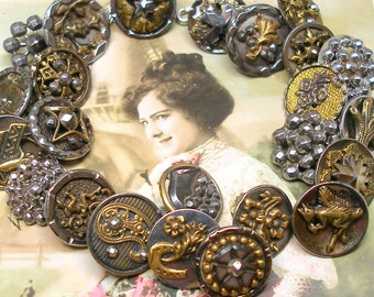 "1800s BUTTONS charm bracelet, Victorian cut steel & brass, 8""  sterling silver ooak jewellry. 24 ANTIQUE buttons."