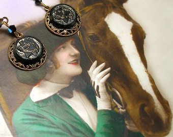 HORSE Antique BUTTON earrings, Victorian black glass equine, pony. One of a kind jewellery.
