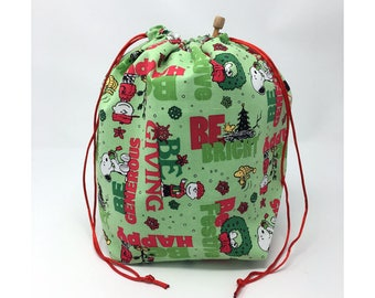 MOVING SALE - Holiday Christmas Winter Snoopy Knitting Drawstring Project Bag