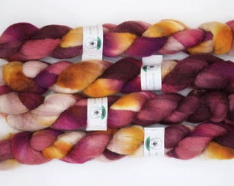 Handpainted Bluefaced Leicester Wool Roving in Hermione by Blarney Yarn