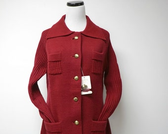 NEW WITH TAG!!! Montgomery Ward . 60s 70s red and gold sweater / cardigan . size 36