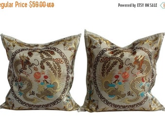 "BIG SALE - Asian Style Pillow Covers, Pair Chinioserie Pillow Covers - 16"" - Dragons"