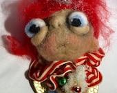Red Head Angel ornie  oak art doll