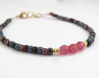 Berry Friendship Bracelet, Beaded Bracelet, Raspberry Mixed Beads, Dainty Petite Bracelet, Blue Black Teal Mix, Yoga Zen Jewelry, Misscece