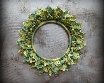Crocheted Leaf Bracelet, Lace, Small, Handmade, Original, Leaves, Unique, One of Kind, Layered, Monicaj