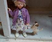 One Inch Scale Dollhouse OOAK Artdoll  child & giraffe toy  Miniature By Woolytales