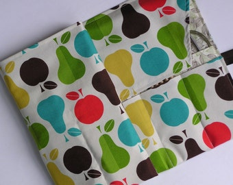 circular knitting needle case - double pointed knitting needle case -organizer -colorful fruit print