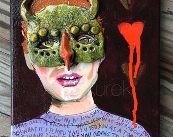 Monster Mask Original Painting - Odd Painting - Small Original Painting - 3D Mixed Media Painting - Dark Art - Devil Mask - Political Art