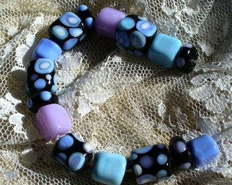 Handmade LAmpwork Glass Beads by Catalinaglass SRA Mosaic Cubes
