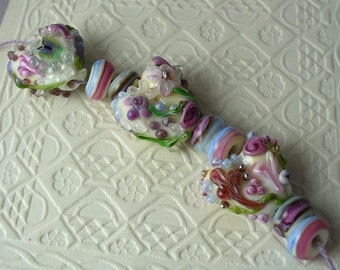 SRA Lampwork Glass Beads Handmade by Catalinaglass Flowered Hearts Valentines's Day