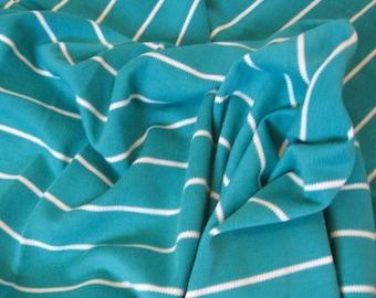 "knit fabric -- emerald green, white stripe -- 1980s vintage -- ponté knit, heavier (not clingy) -- 46"" x 1.5 yards"