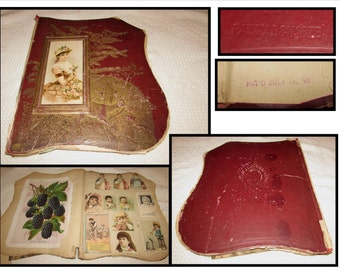 Antique Vintage Victorian Scrapbook, Clippings of flowers, animals, celebrities, newspaper, unique shield shaped cover