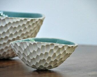 SALE Robin's Egg Blue Coneflower Ceramic Bowl - Ceramic Bowl Blue White Ceramic Bowl Handmade Serving Bowl
