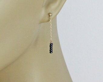 Dainty Hematite Earrings, Black Gold Post Earrings, 14K Gold Fill, Tiny Bead Stack Gold Earrings, Rope Chain Glass Seed Bead Earrings