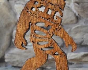 BigFoot Sasquatch Animal Puzzle Wooden Toy Hand  Cut Big Foot