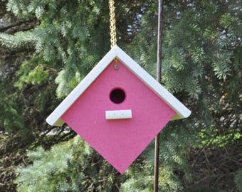 New Poly Vinyl Bird House Pink or Yellow with White Roof Weather Resistant