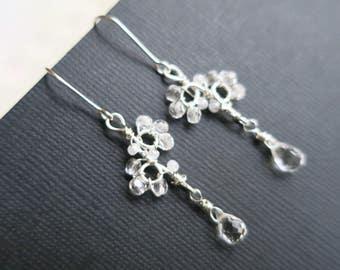 Rock Crystal Earrings Bridesmaid Earrings Set of 3 Bridal Crystal Teardrop Earrings Wedding Jewelry Delicate Earrings Sterling Silver Sukran
