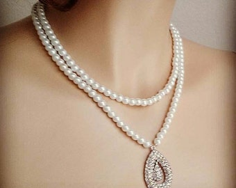 Bridal Pearl Necklace Wedding Pearl Necklace Crystal Double Drop Bridal Jewelry Vintage Rhinestone Bridesmaid Necklace Glamorous Sukran