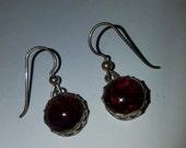 SALE Vintage Sterling Silver Deep Red Garnet Earrings Gothic