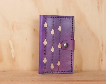 iPhone 6 Plus Wallet Case - Leather iPhone 6 Case in the Rain Pattern in Purple and Gold - Handmade for iPhone 5, 6, 6+, SE, 7 or 7+