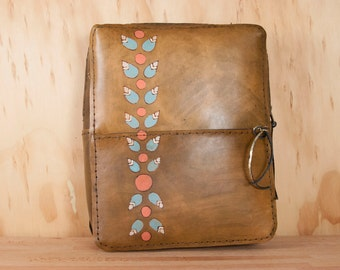 Leather Backpack - Handmade Mini Backpack Purse with Modern Flowers and Zip Closure - Petal pattern in brown, pink and turquoise