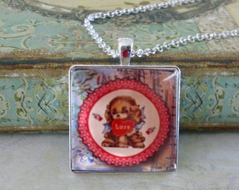 Valentine Puppy, altered art pendants, gift boxed,Valentine's Day gifts, Valentine jewelry, love, romance,  gifts for valentines, retro