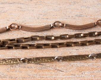 Destash Sale Vintage Patina Brass Chain Assortment - Lot of 4 Chains