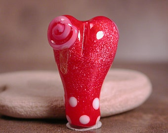Lampwork Glass Heart Focal Bead with Pink Roses Divine Spark Designs SRA