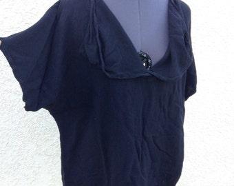Vintage 70s Moroccan black cotton blouse ~ avant garde style ~ bohemian