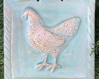 Chicken Tile in Sage Green Glaze