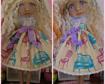 Tiny BJD Mystery Girl Babydoll Dress by Tickled Pink by Julie