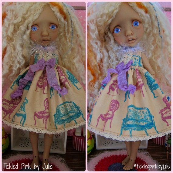 Tiny BJD Mystery Girl Babydoll Dress by Tickled Pink by Julie