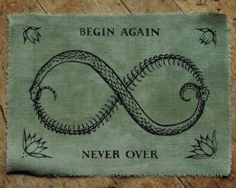 "Begin Again - 7x5"" Screen Printed Sew-On Art Patch"