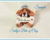 Basset  Hound Angel Dog Christmas Bone Ornament Sally's Bits of Clay PERSONALIZED FREE with dog's name