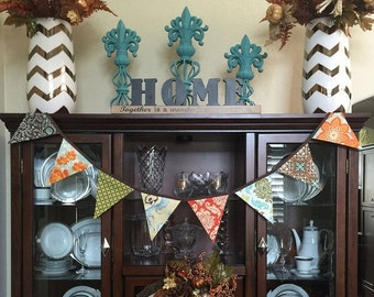 Entire Shop On SALE Harvest, Fall Colors Bunting, Flag Banner.  Thanksgiving Flags, Garland Photo Prop, Holiday Decoration. Brown, Green, Or