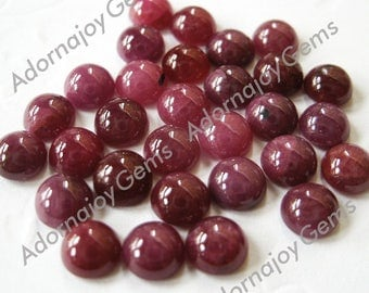 Gemstone Cabochon Ruby Round 5mm FOR ONE