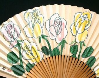 Japanese Hand Fan - Vintage Paper Fan - Japanese Sensu - Japanese Vintage Fan - Vintage Japanese Fan - Rose - Flower - F117