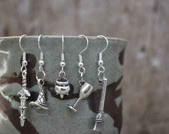 Witch Earrings Pagan Wicca Broom Chalice Globlet Caldron Witch's Hat Athame Knife Sword Dangle Metal Earrings