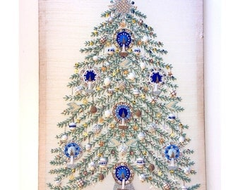 Mid Century Christmas Decoration - Satin and Sequins Christmas Tree Wall Hanging