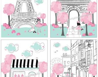 Paris Art Decor, Paris Childrens Decor Paris Art Eiffel Tower, Iconic Landmarks Art Prints, Decor for Girls Paris bedding. Unframed Art