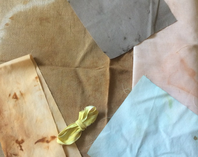 Naturally dyed vintage cotton fat scrap pack, free shipping!, plant dyed cotton, dollmaking supplies, art quilt, crazy quilt, scrapbooking 1