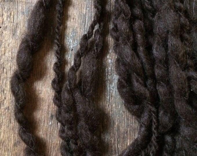 Espresso wool and llama, 82 yards handspun wool yarn, bulky textured art yarn, undyed art yarn, wavy art yarn