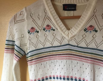 Vtg 1980s Spring Bud and Earthy Rainbow Stripe Sweater