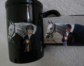 Hand Painted Personilized Original Coffee Mugs Made to Order Parallel Oxer Horse by Shannon Ivins Pigatopia